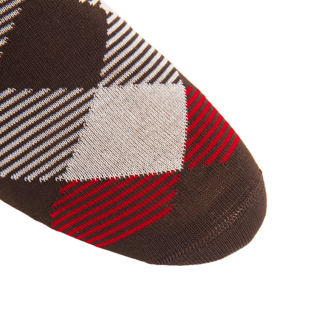 linked-toe coffee brown/tan/red/cream stripe argyle cotton sock