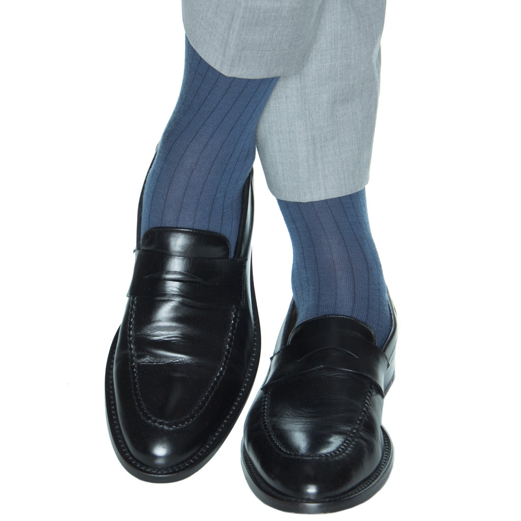bay blue ribbed wool sock