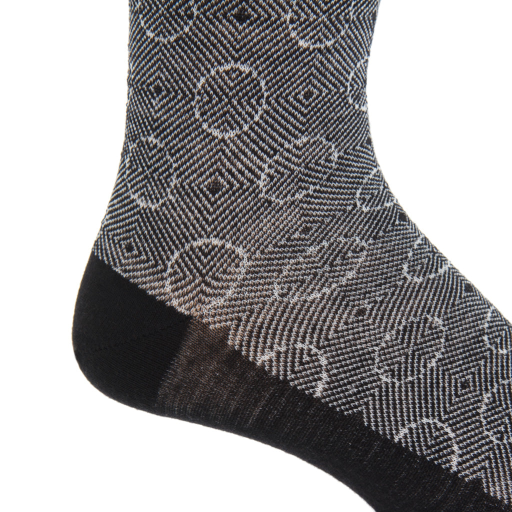 black with cream optic circles wool sock