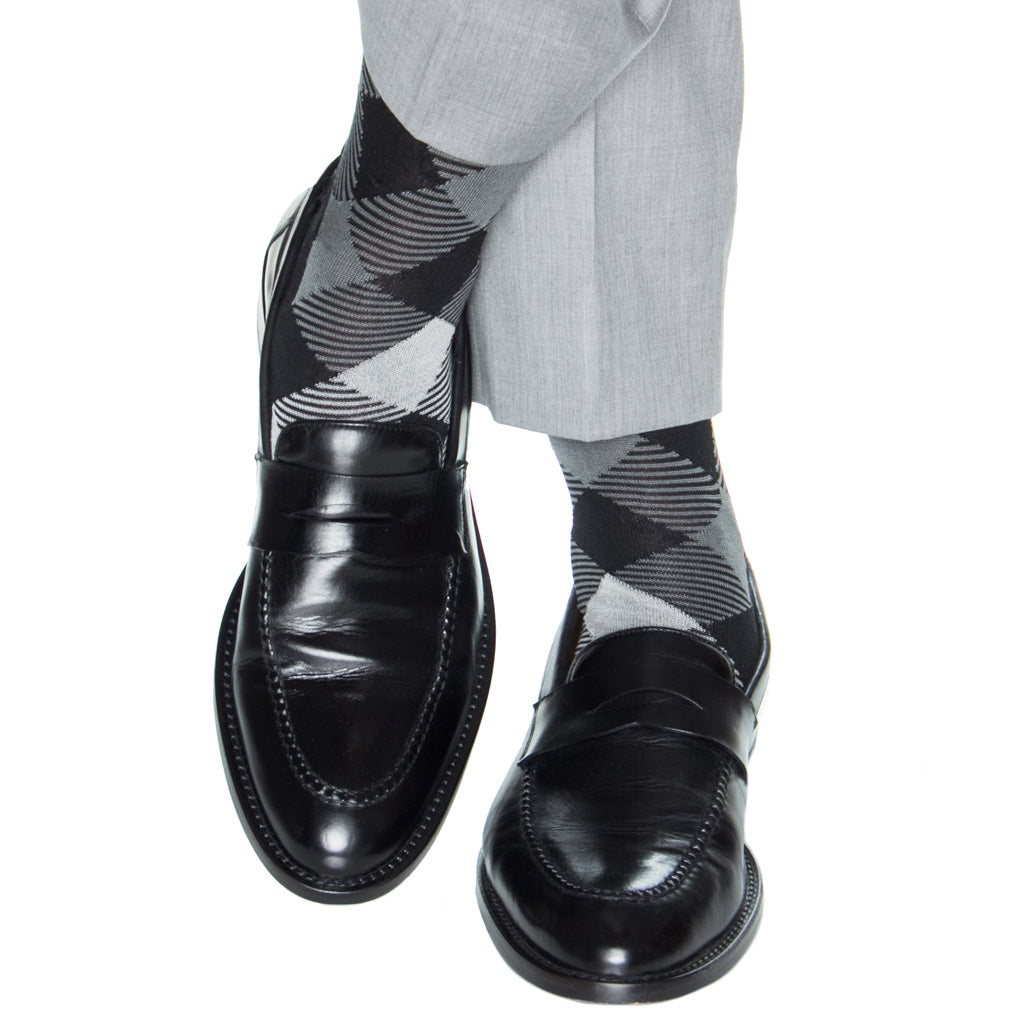 over-the-calf black/ash/steel/cream stripe argyle cotton sock