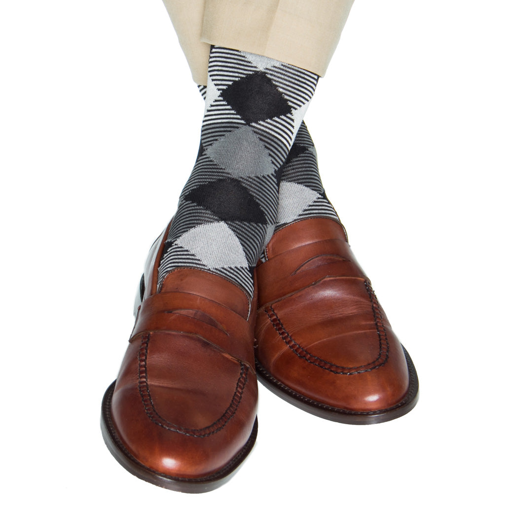 black/ash/steel/cream stripe argyle cotton sock