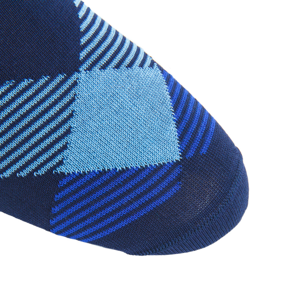 linked-toe navy/sky/clematis blue/cream stripe argyle cotton sock