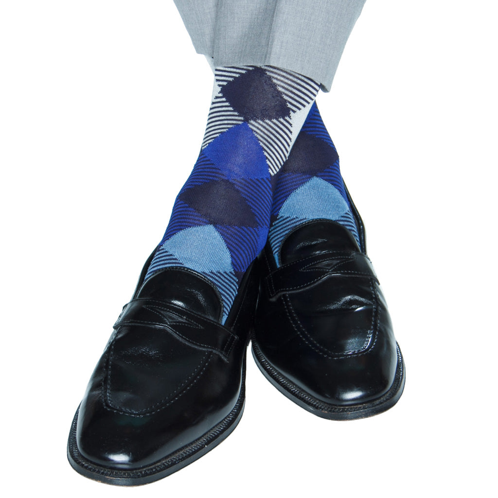 mid-calf navy/sky/clematis blue/cream stripe argyle cotton sock