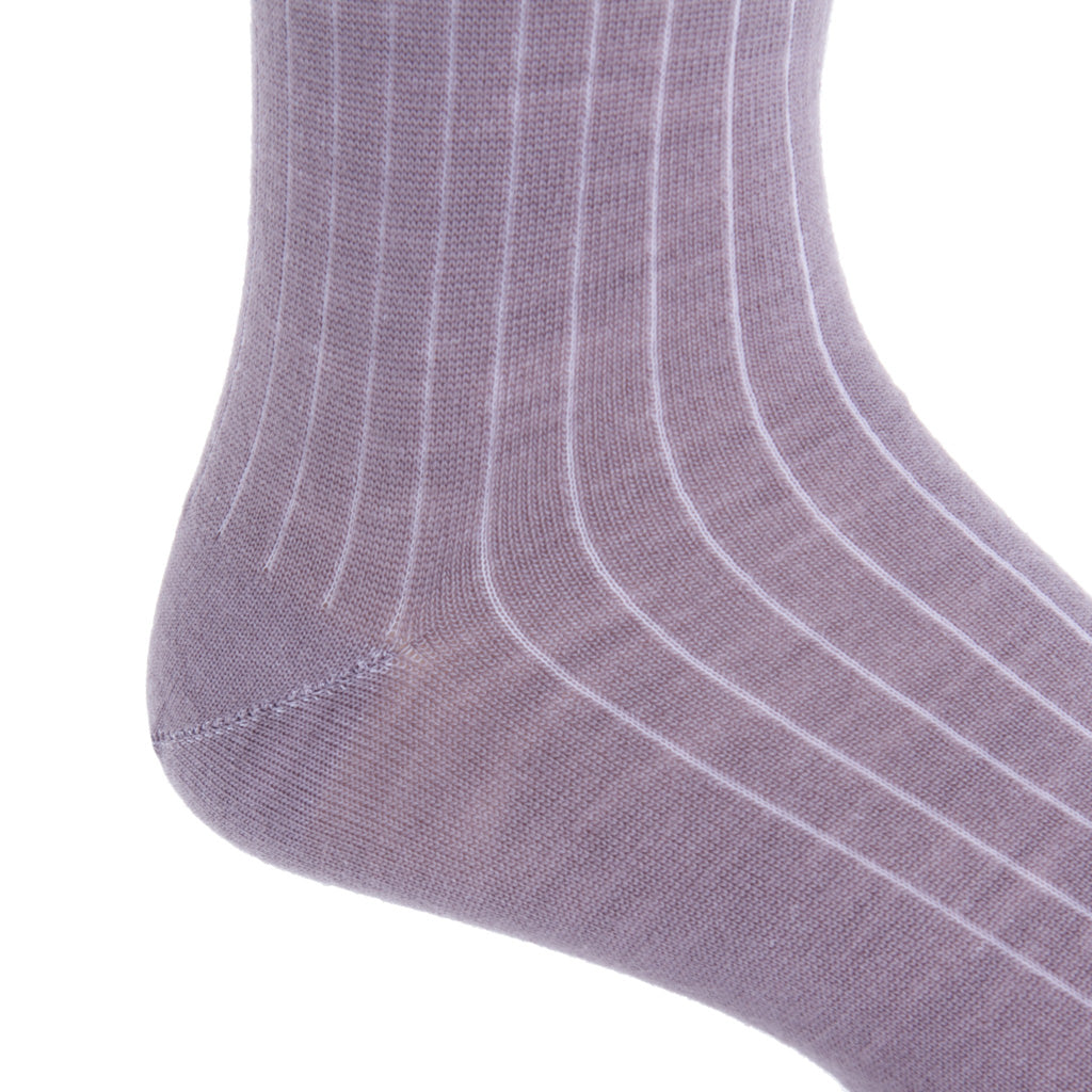 mid-calf Elderberry ribbed wool sock