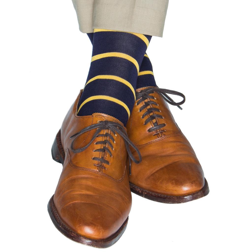 Classic Navy and Yolk stripe cotton sock