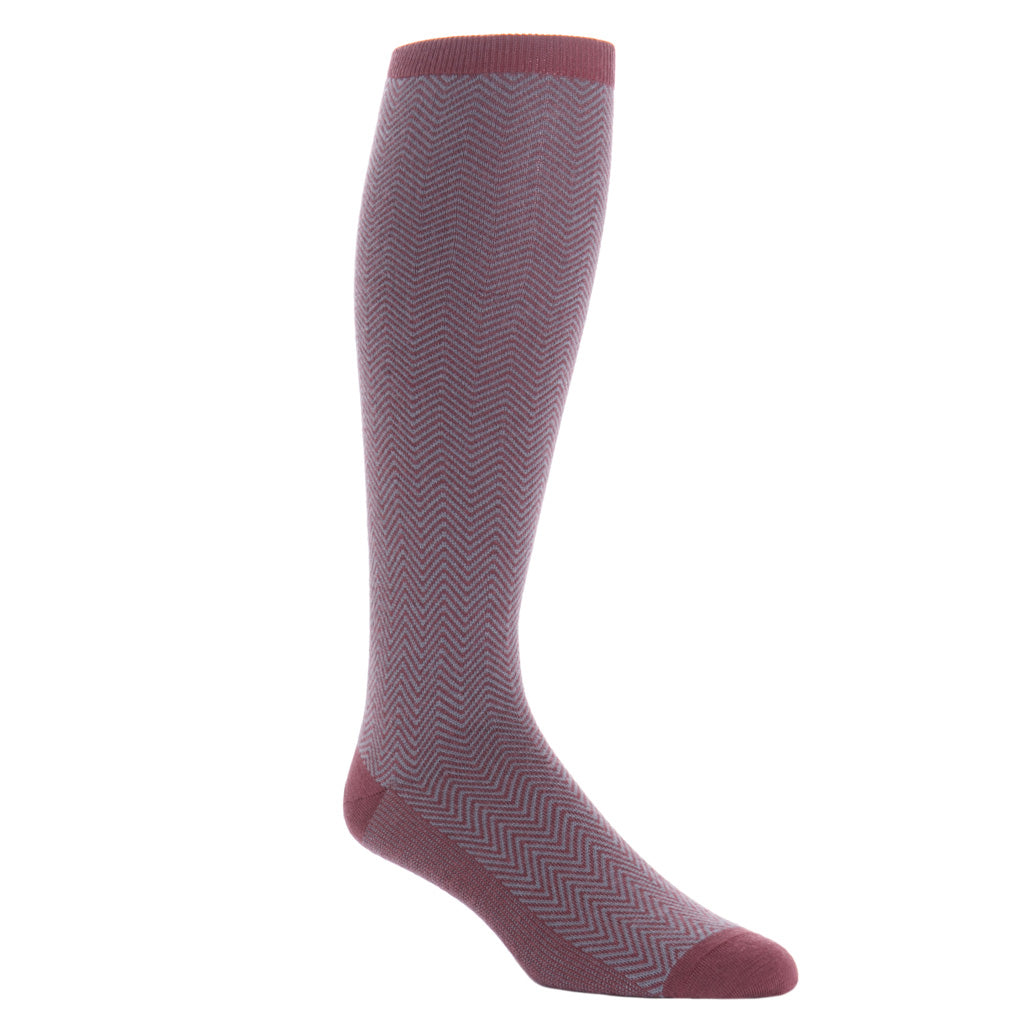 over-the-calf Burgundy and Mercury Gray Chevron Wool Sock