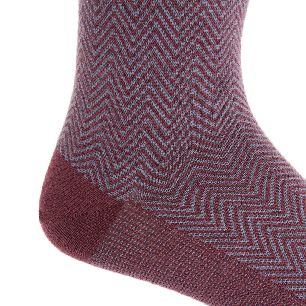mid-calf Burgundy and Mercury Gray Chevron Wool Sock