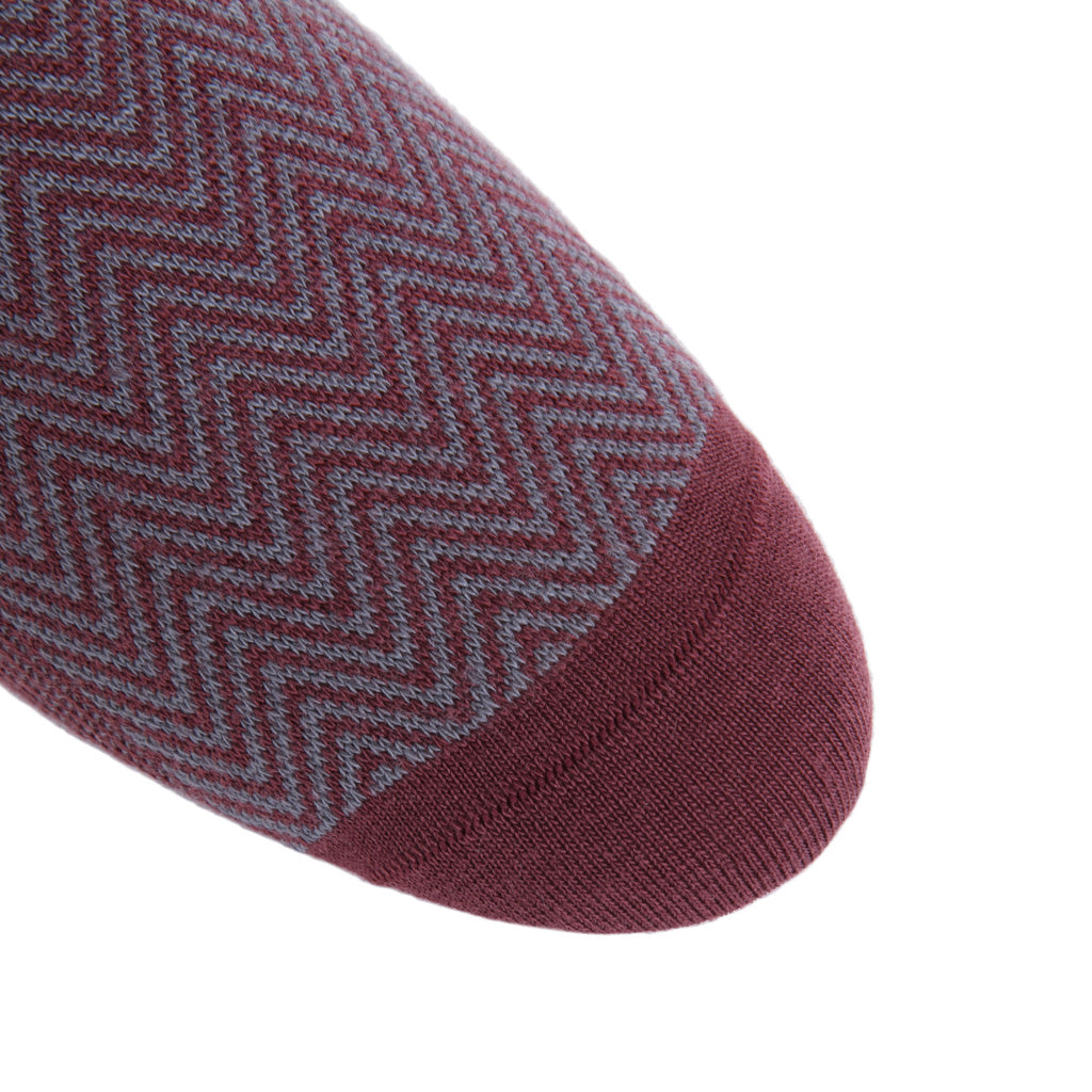 linked-toe Burgundy and Mercury Gray Chevron Wool Sock