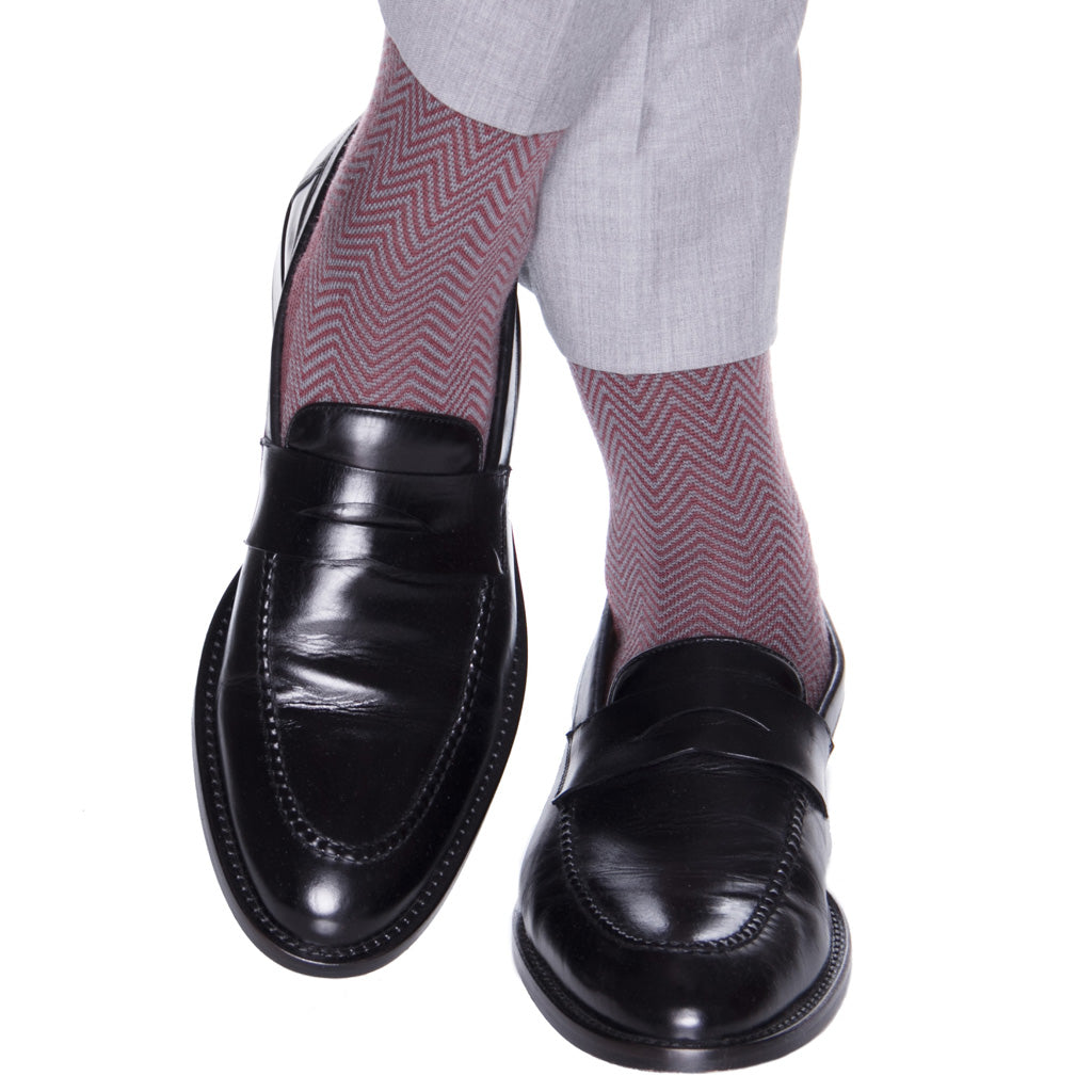 Burgundy and Mercury Gray Chevron Wool Sock