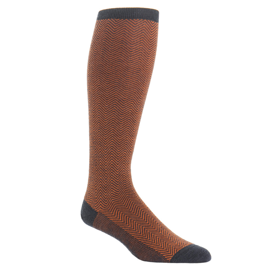 over-the-calf Charcoal with Burnt Orange Chevron wool sock
