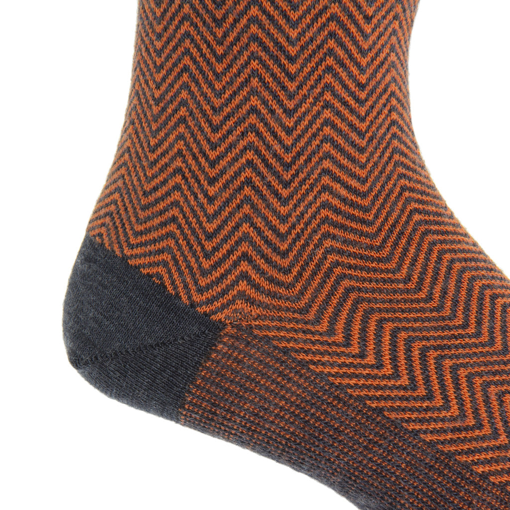 mid-calf Charcoal with Burnt Orange Chevron