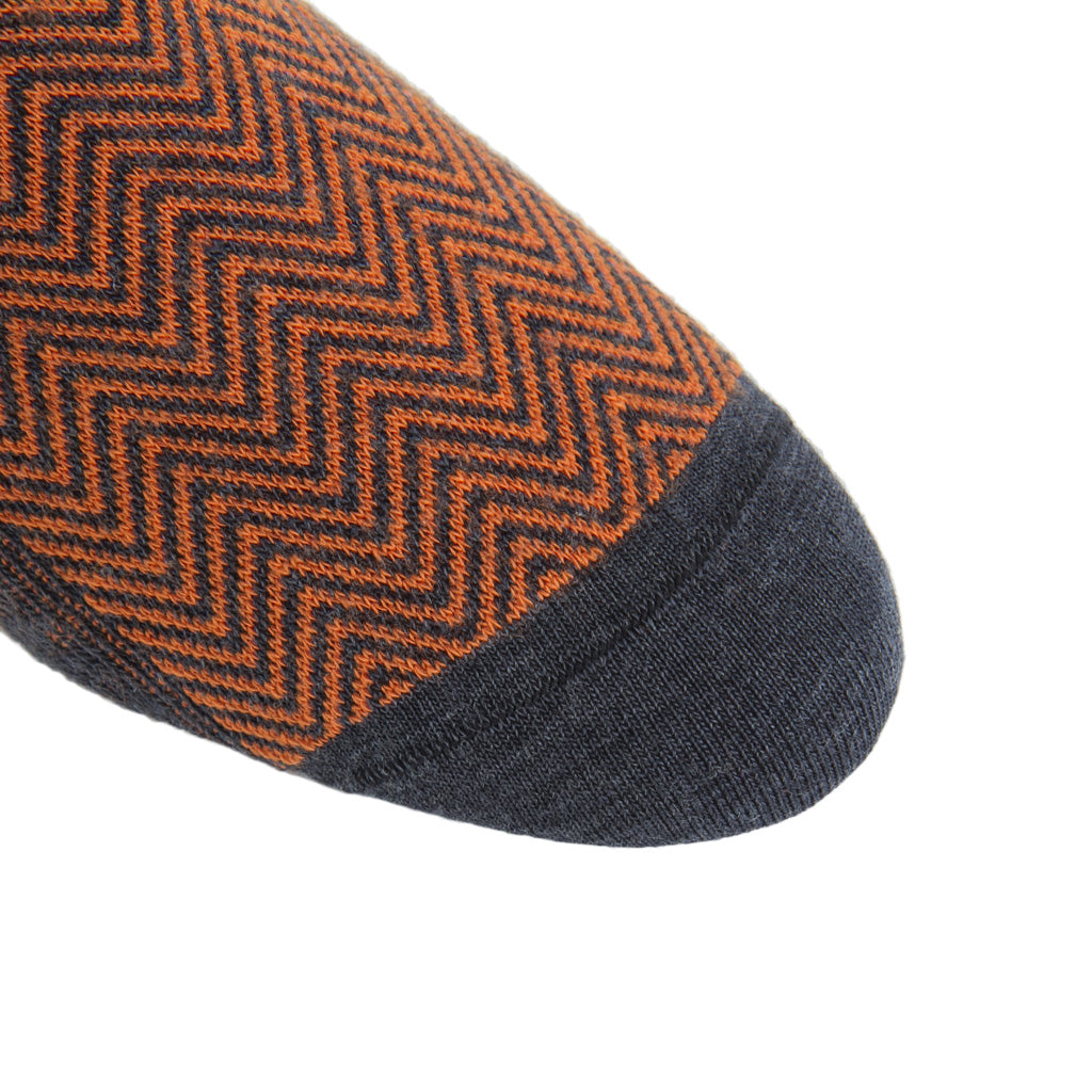 linked-toe Charcoal with Burnt Orange Chevron wool sock