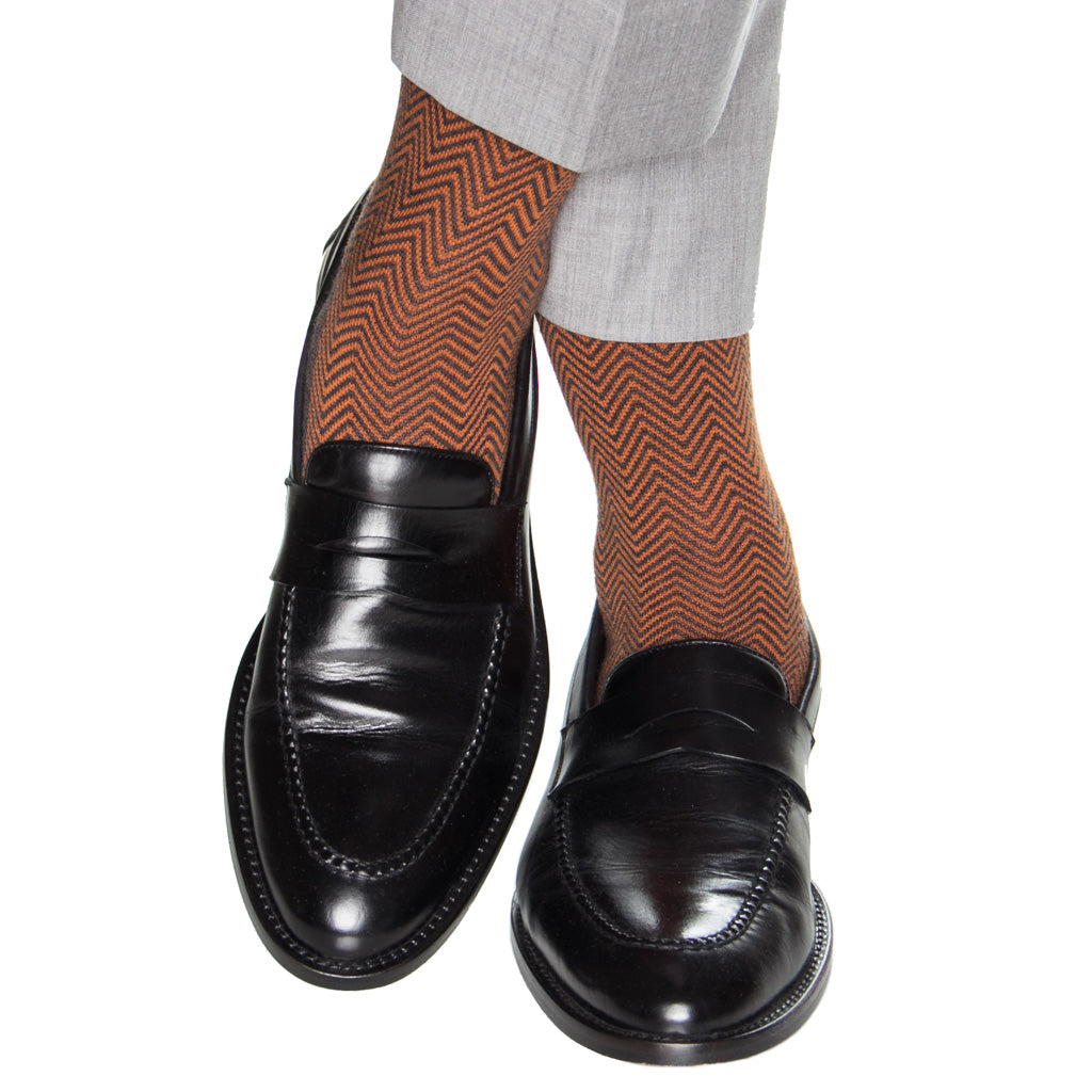 Charcoal with Burnt Orange Chevron wool sock