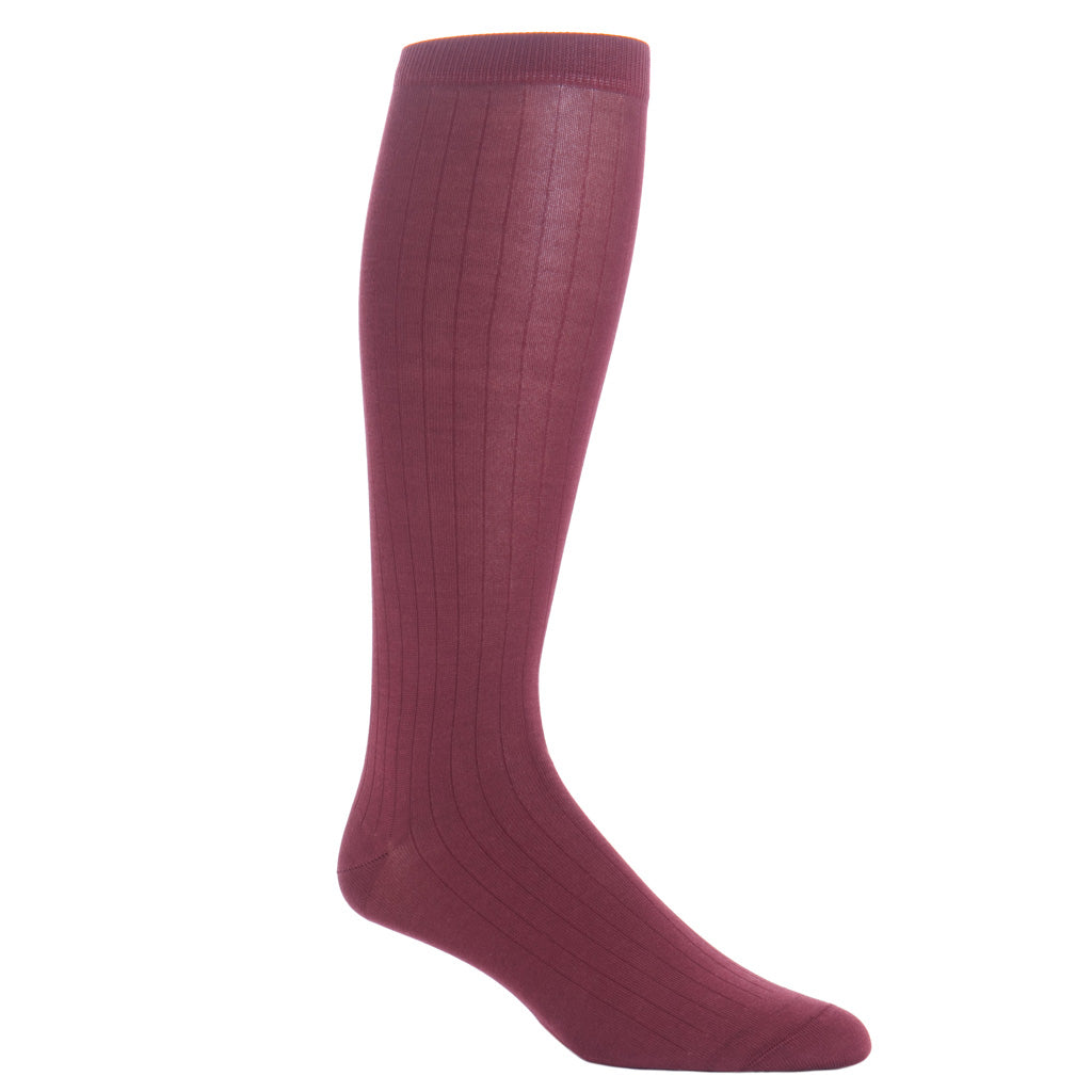 over-the-calf Merlot Ribbed cotton sock