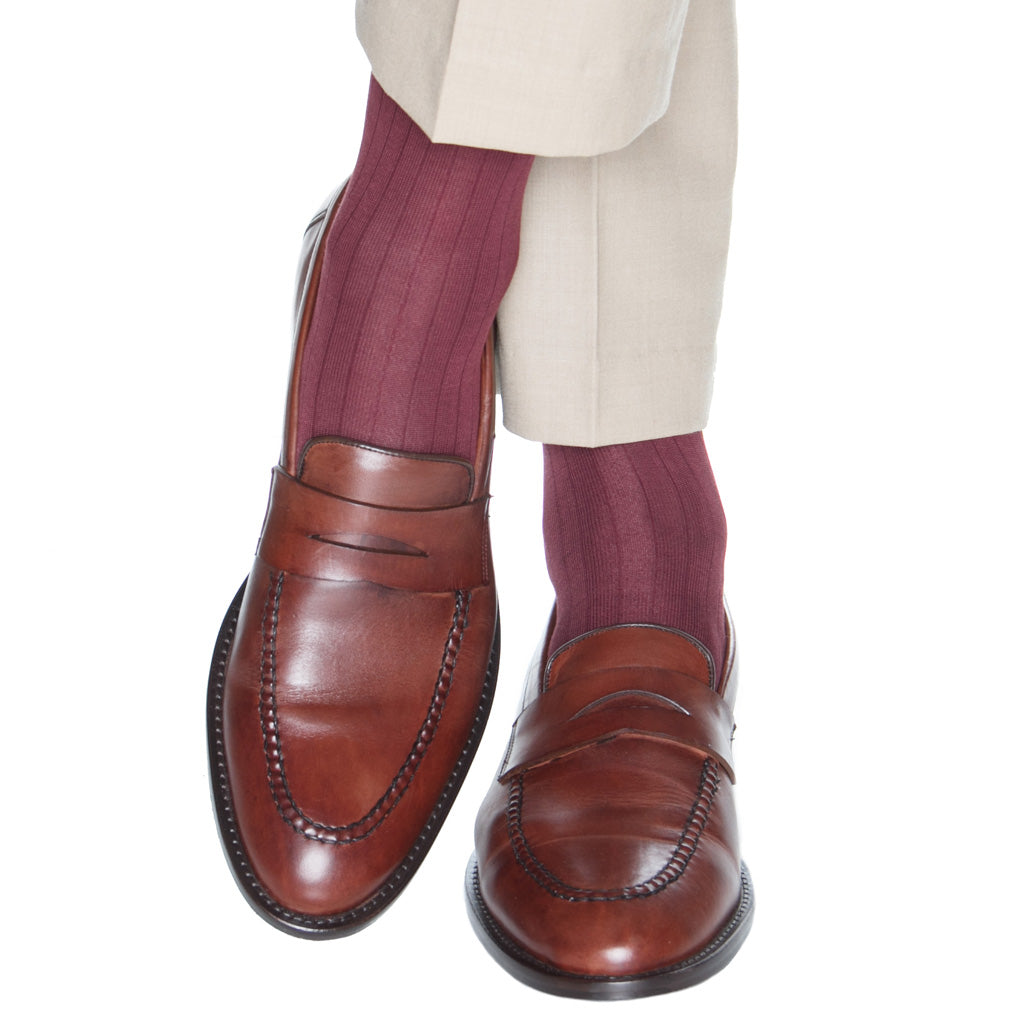 Merlot Ribbed cotton sock