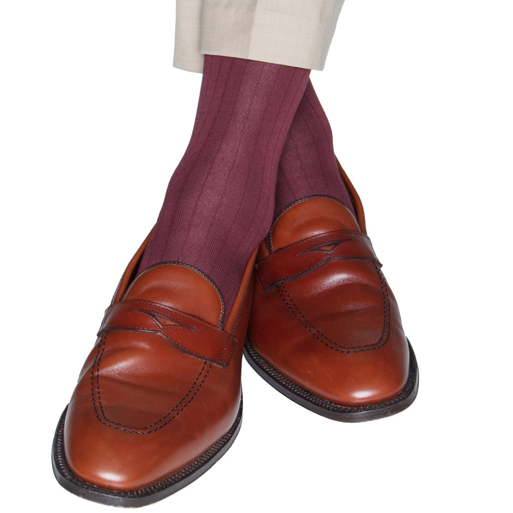 Burgundy Ribbed wool sock