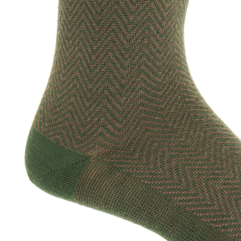 mid-calf Pine Green and Brown Chevron wool sock