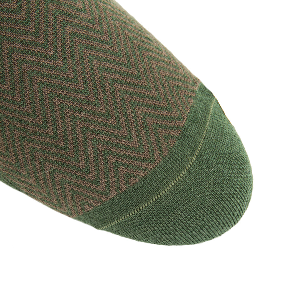 linked-toe Pine Green and Brown Chevron wool sock