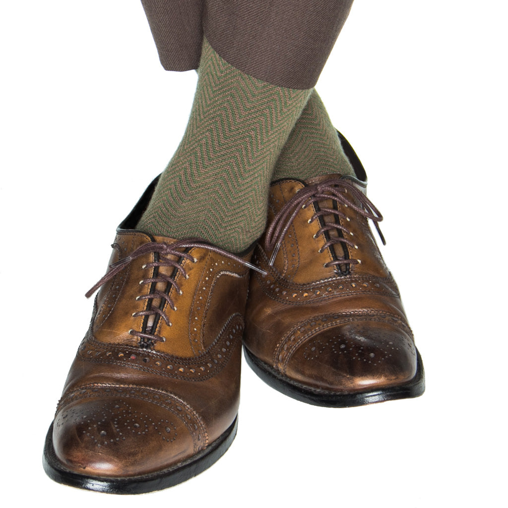 Pine Green and Brown Chevron wool sock