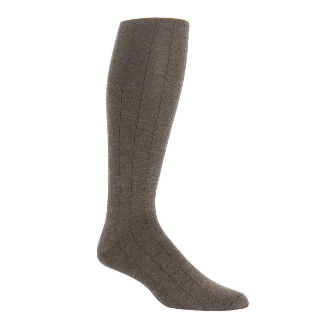 over-the-calf Brown Ribbed Cashmere