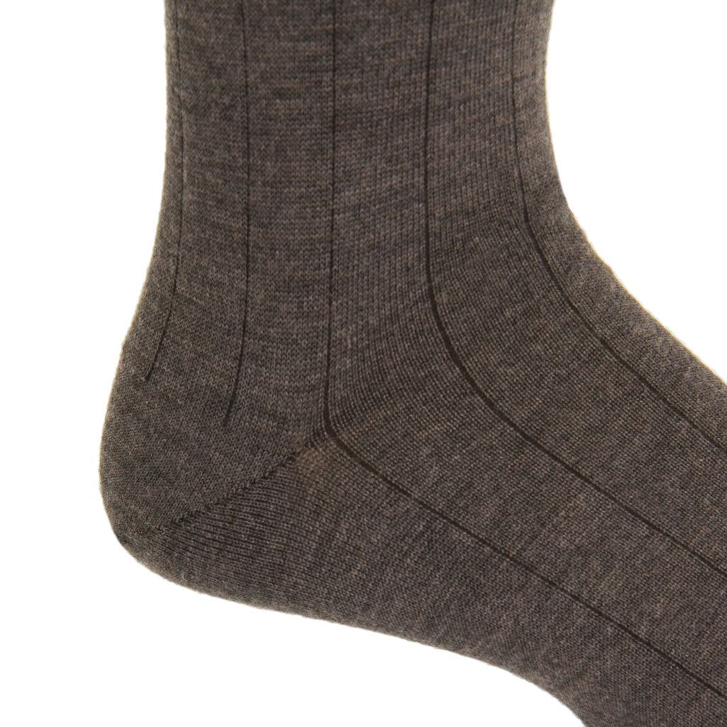 Mid-calf Brown Ribbed Cashmere