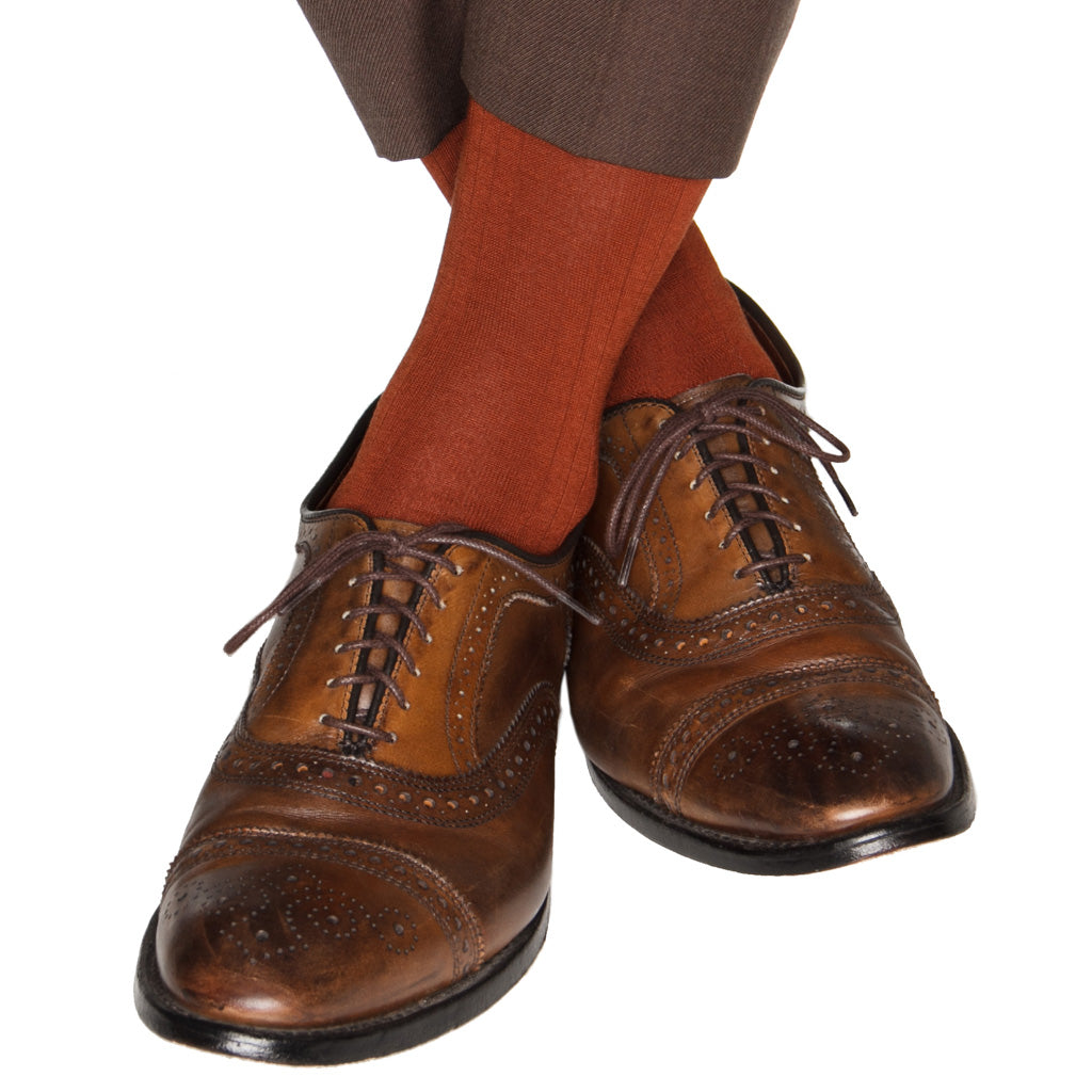 Whiskey Brown Ribbed Cotton Sock