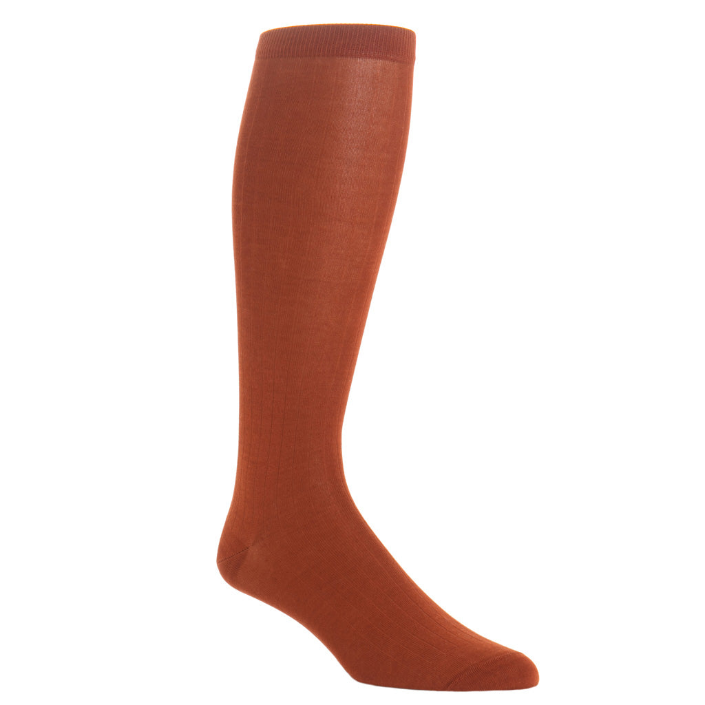 over-the-calf Whiskey Brown Ribbed Cotton Sock