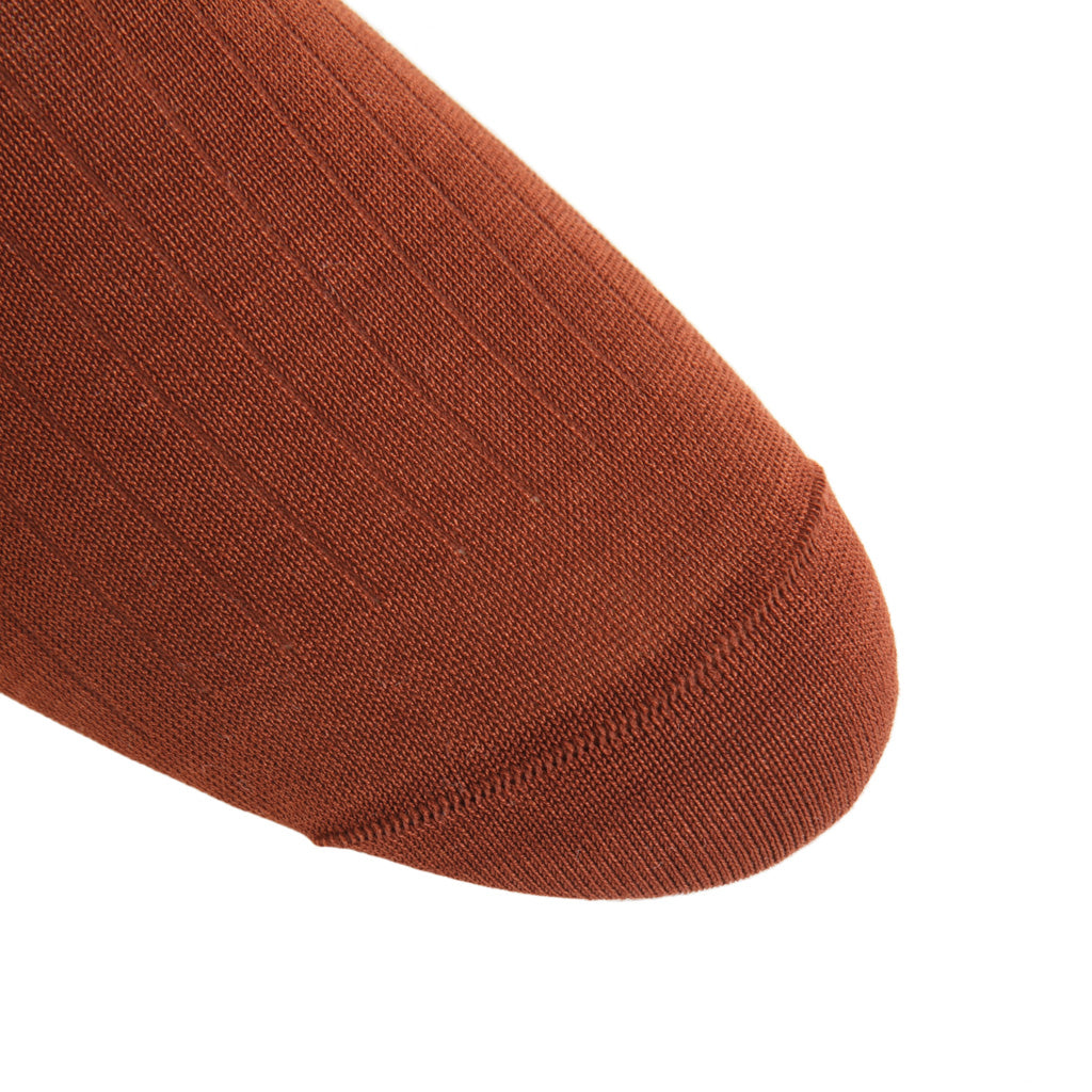 linked-toe Whiskey Brown Ribbed Cotton Sock