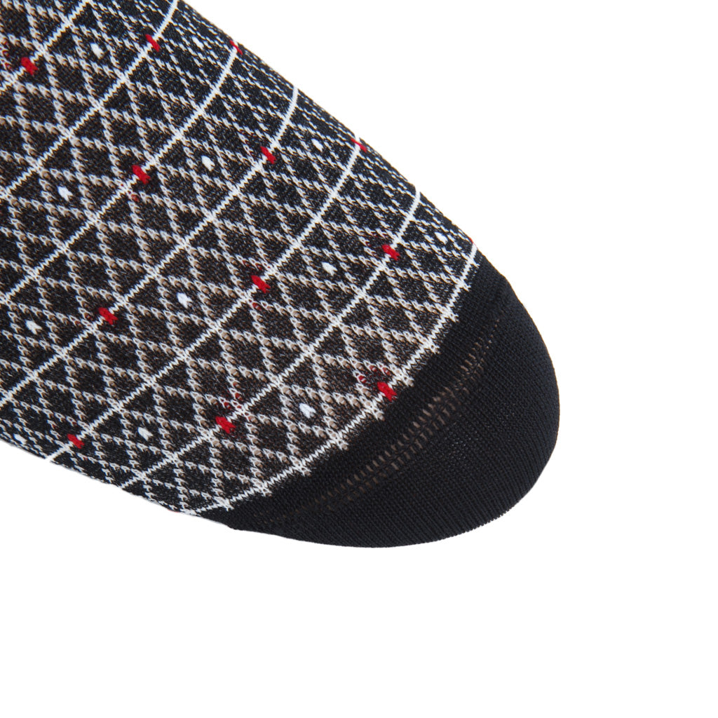 linked-toe Black-Cream-Red-Ash Diamond Marquis