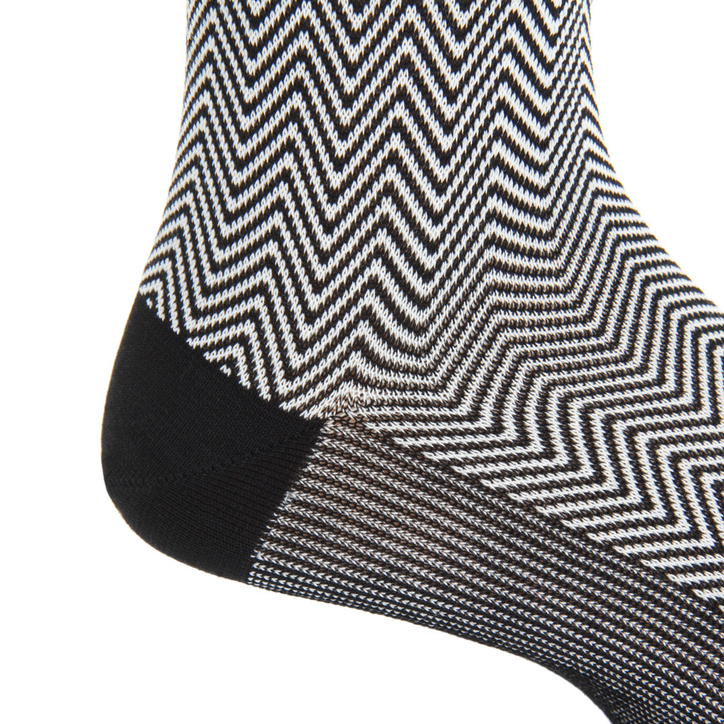 mid-calf Black-cream Chevron