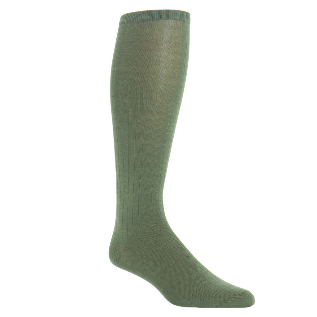 over-the-calf Pine Sage Ribbed Solid