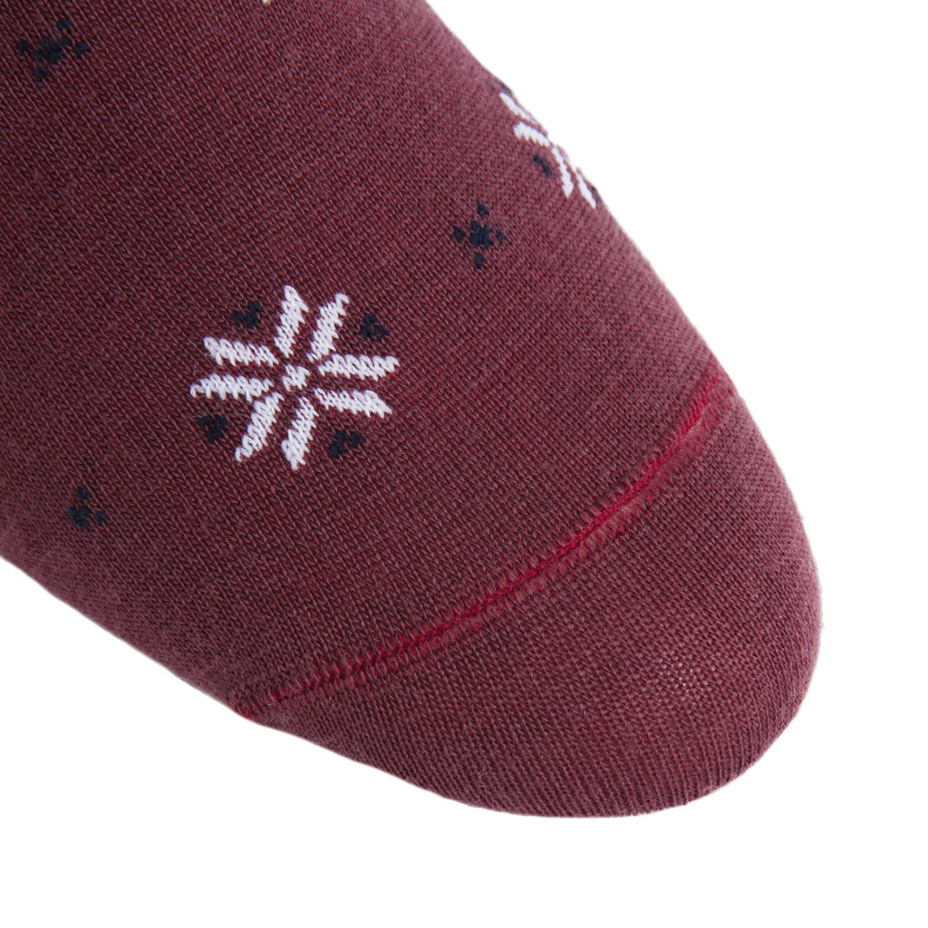 linked-toe Snowflake-Burgundy-Navy