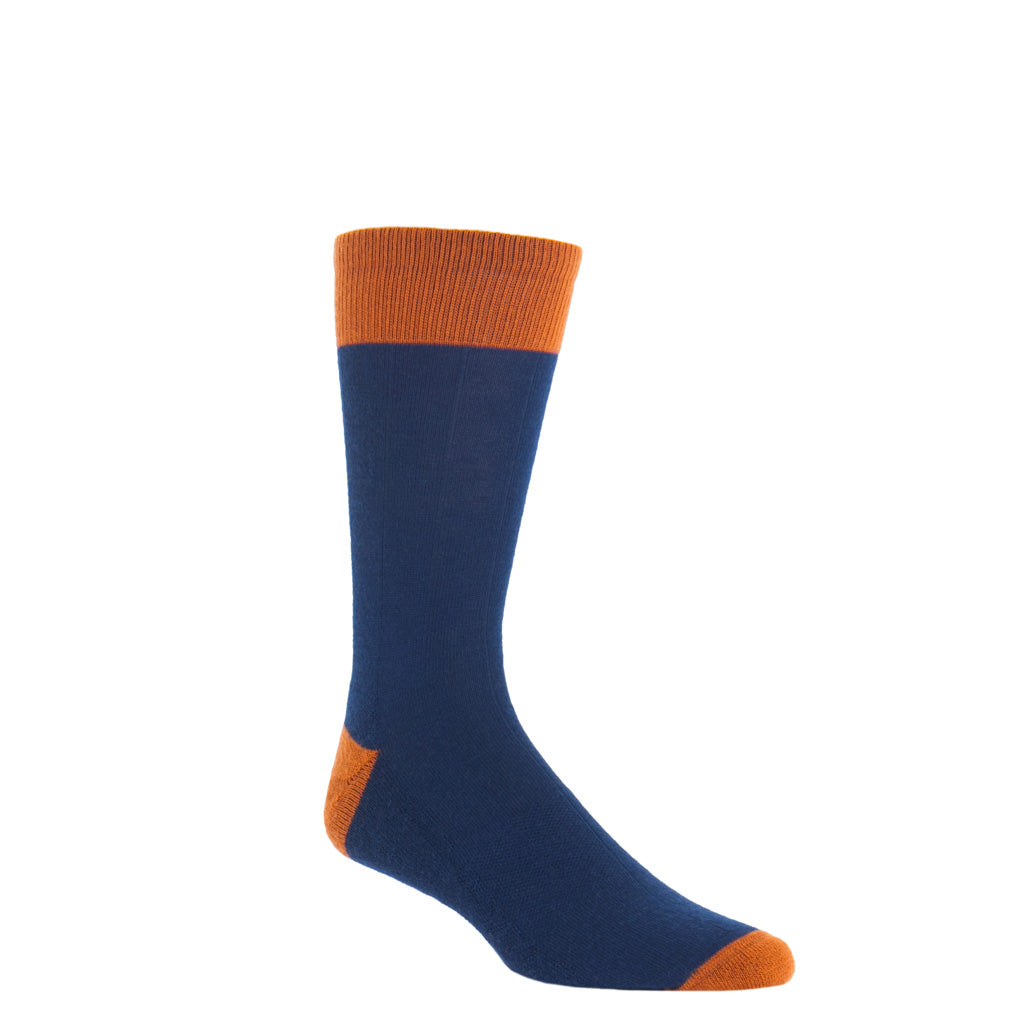 Dress Navy with burnt orange heel and toe tipping wide ribbed crew length sock