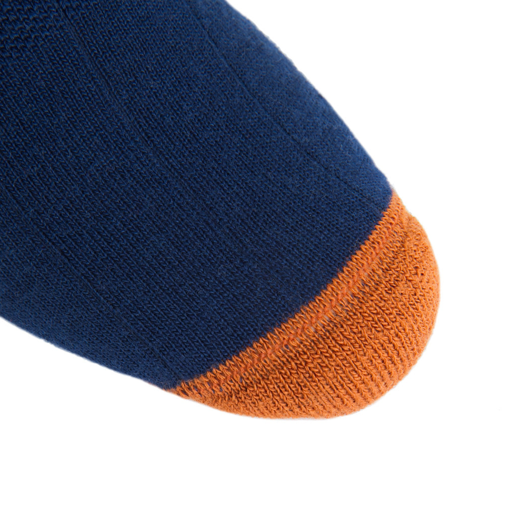 linked-toe Dress Navy with burnt orange heel and toe tipping wide ribbed crew length sock