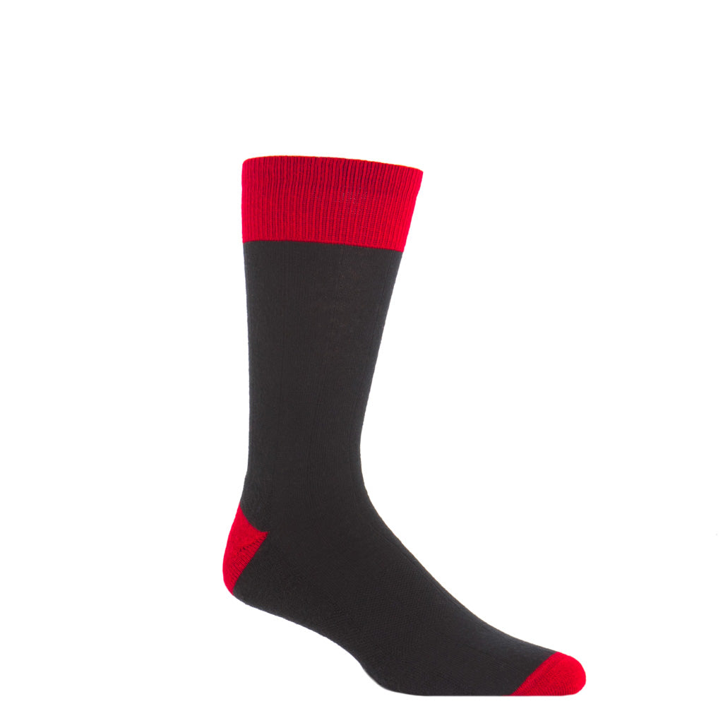 Black with red heel and toe tipping wide ribbed wool crew sock