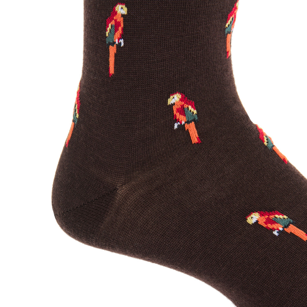 mid-calf coffee brown/orange/red/yolk parrot wool sock