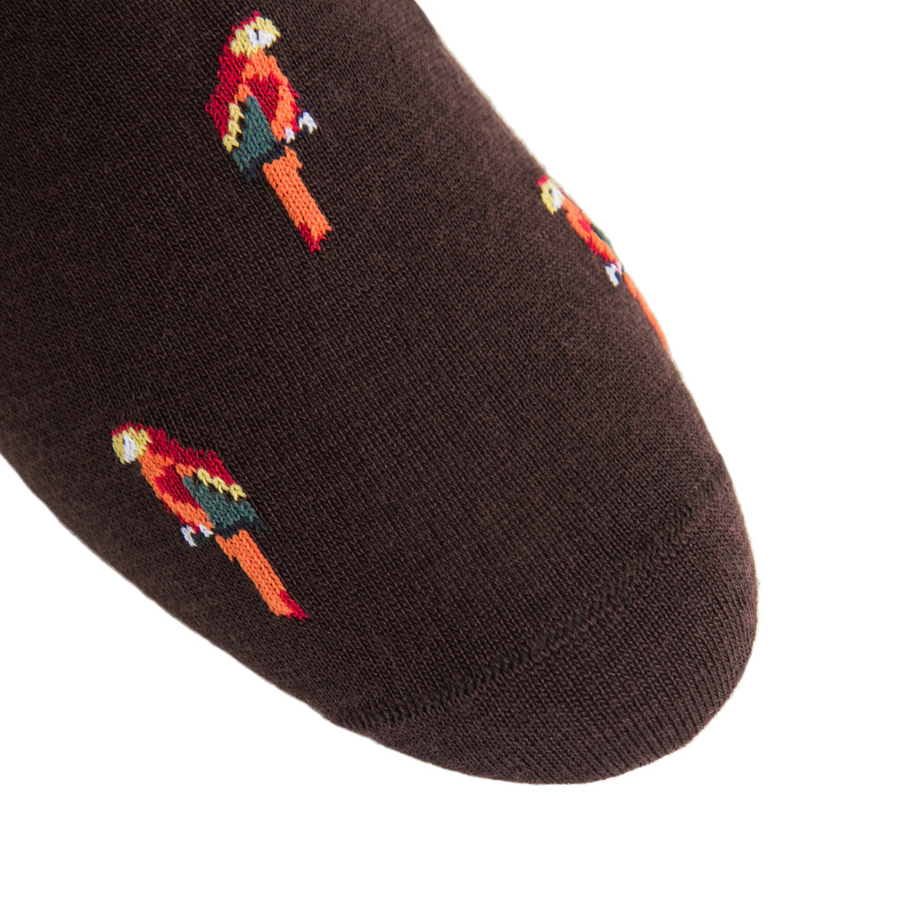 linked-toe coffee brown/orange/red/yolk parrot wool sock