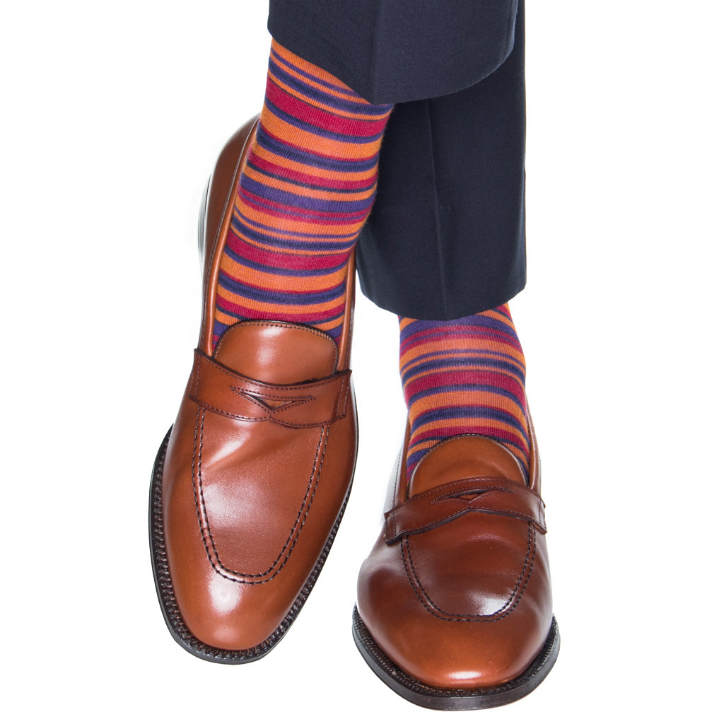 Stripe-orange-socks