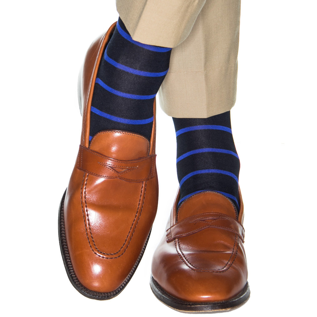 5aa46988f Navy with Clematis Blue Stripe Cotton Sock Linked Toe OTC