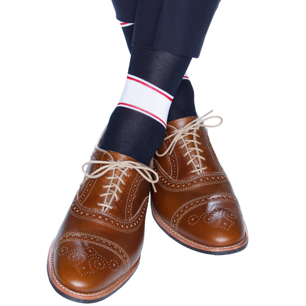 Navy, White and Red Dress Sock
