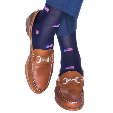 716895f2786f Classic Navy, Red, White, and Clematis Blue American Flags Cotton Sock  Linked Toe
