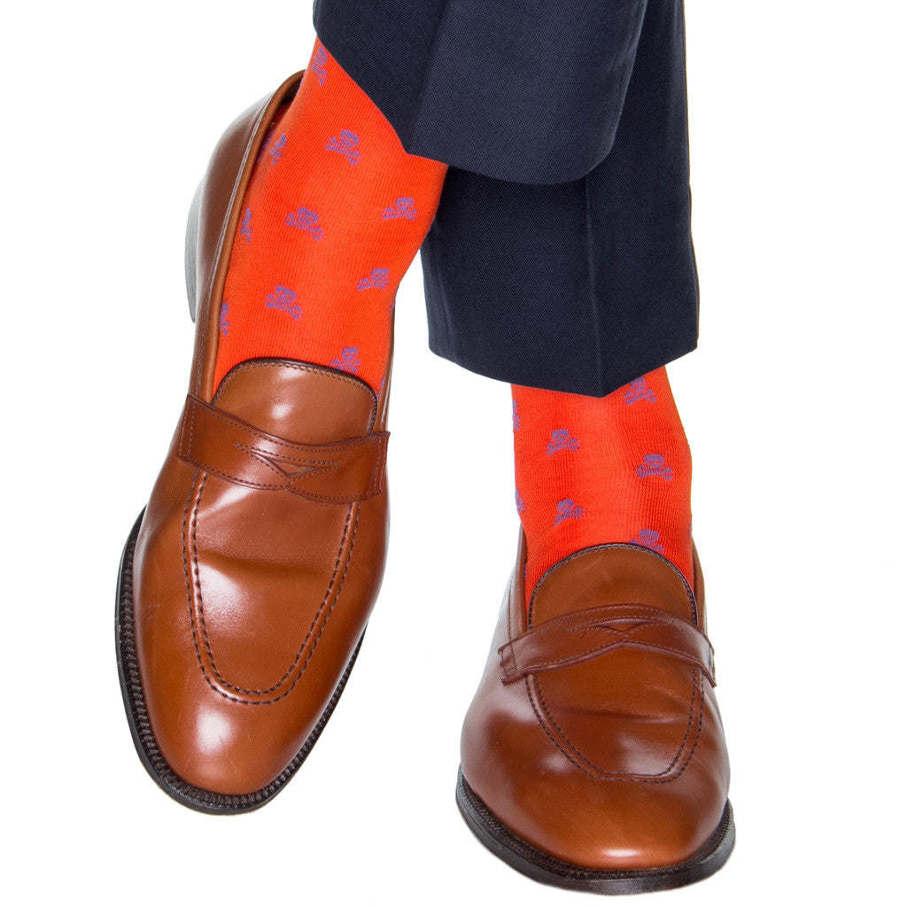 Orange-Skull-And-Crossbones-Sock