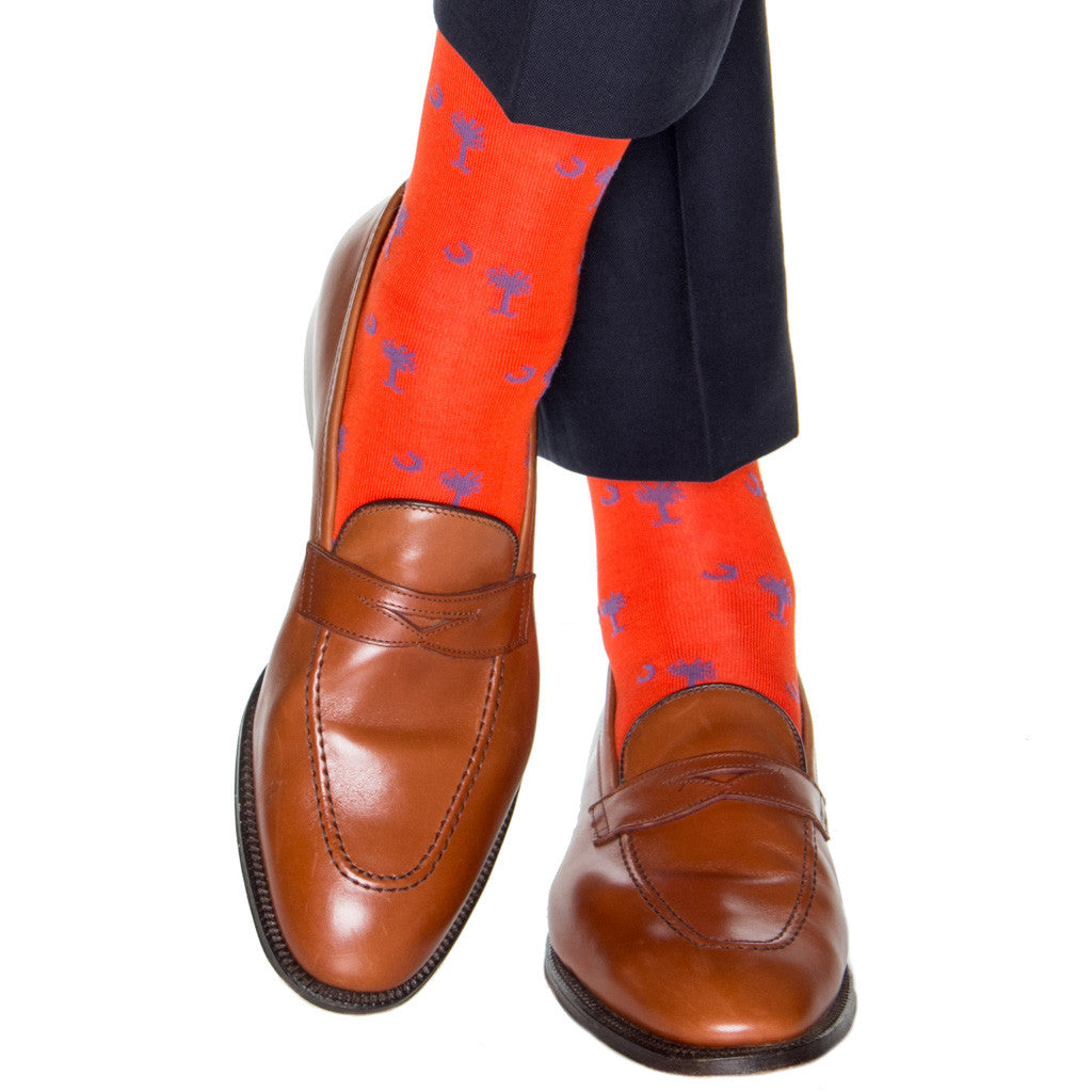 Orange-Crescent-Moon-Palmetto-Sock