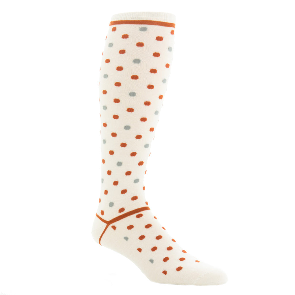 Cream-Burnt-Orange-Grey-Large-Dot-Sock