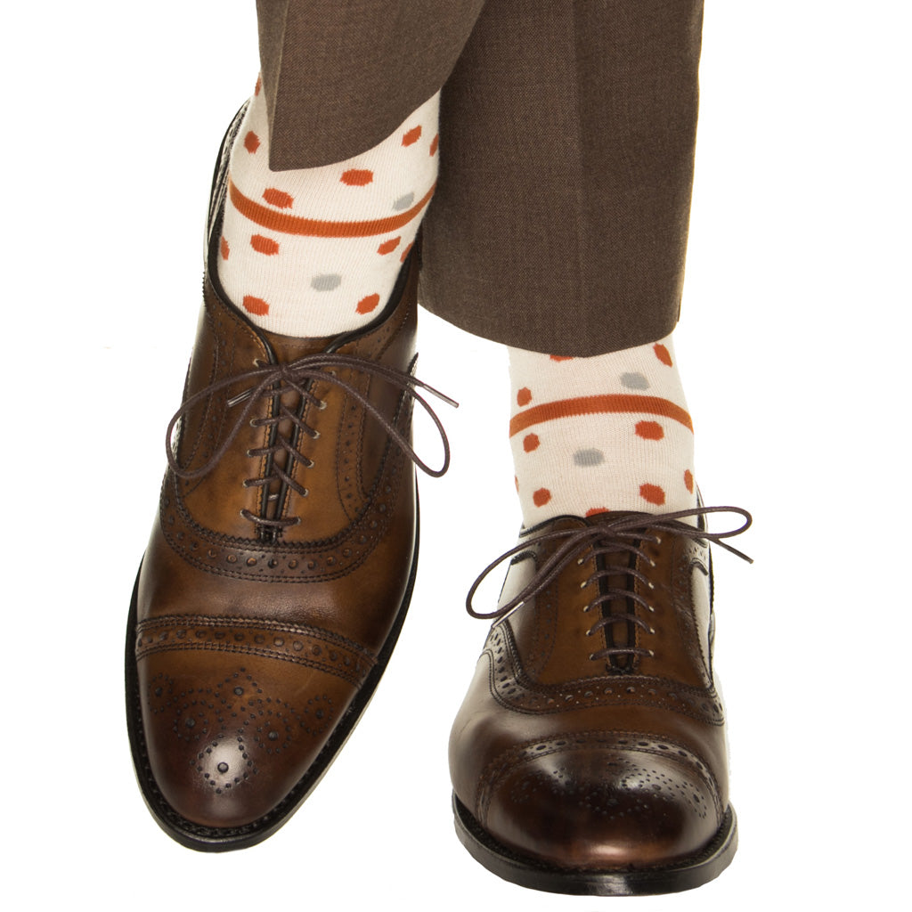 Cream-Over-The-Calf-Large-Dot-Sock