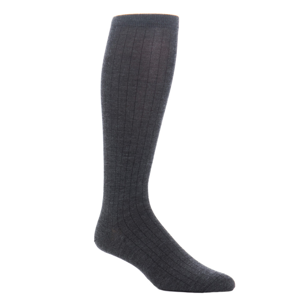 Charcoal-Ribbed-Cashmere-Sock