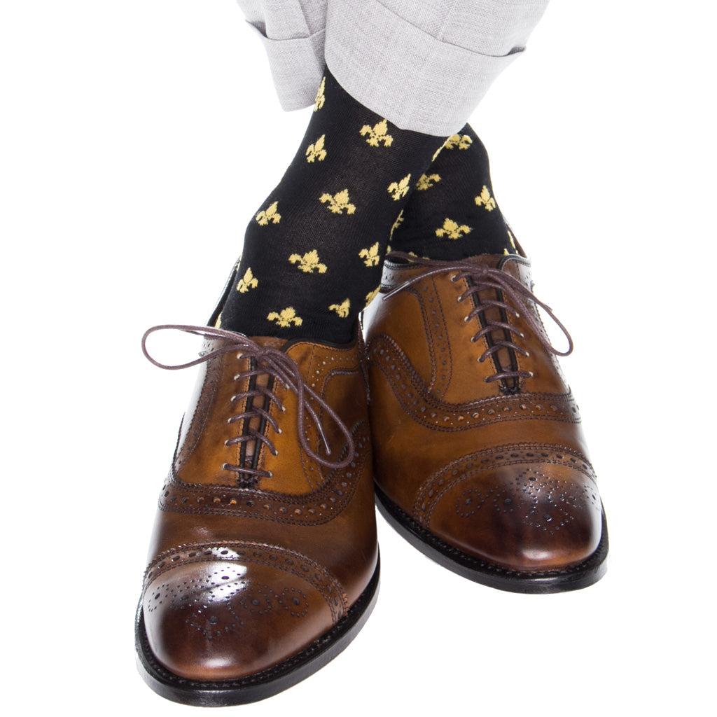 Black-Over-The-Calf-Fleur-De-Lis-Sock