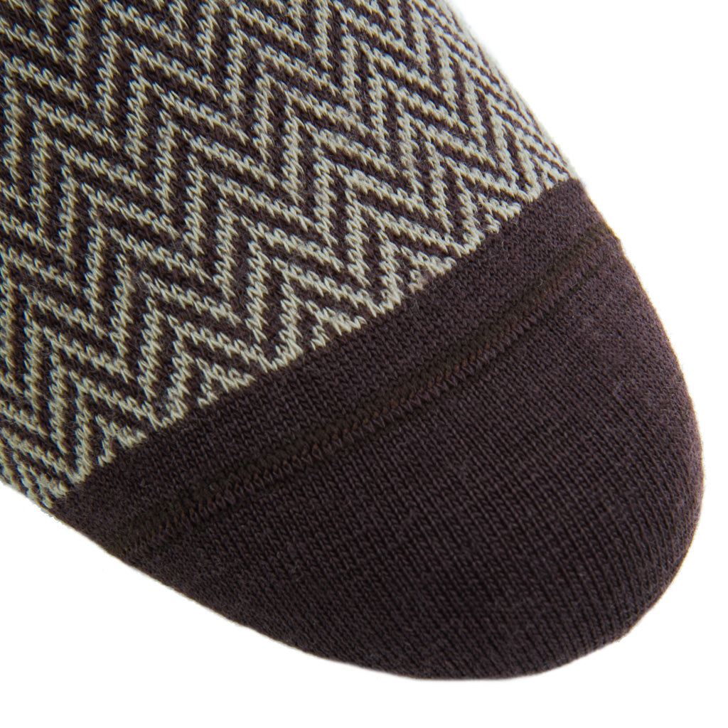 Coffee-Brown-Taupe-Herringbone-Sock