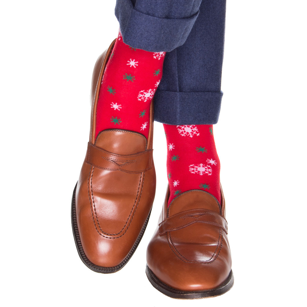 Men's Red Holiday Snowflake Socks
