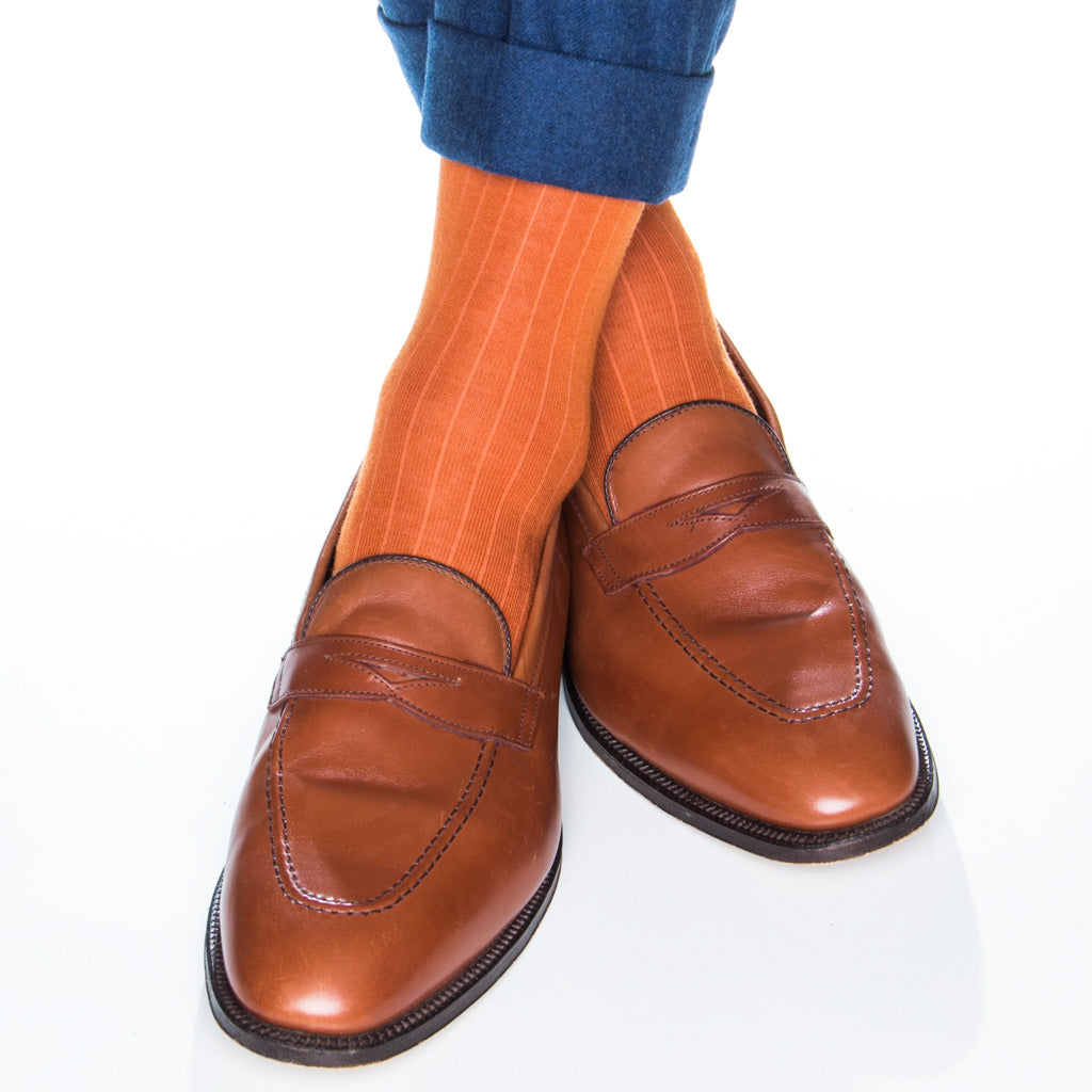 Burnt Orange Ribbed Socks